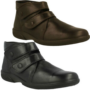 LADIES LEATHER WINTER ANKLE BOOTS CASUAL COMFORT WIDE FITTING DB EASY B BRADWELL