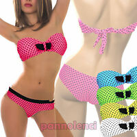 Bikini costume bagno donna moda mare CUORI due pezzi PUSH UP lacci B3039