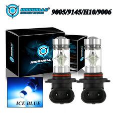 IRONWALLS 9005 H10 9145 9006 8000K Ice Blue 100W LED Fog Light Driving Bulbs Kit