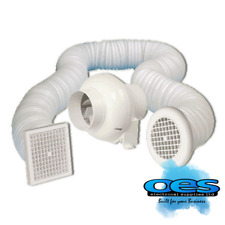 MANROSE SCF200TN IN-LINE CENTRIFUGAL FAN KIT WITH TIMER + GRILLS & DUCTING 100MM