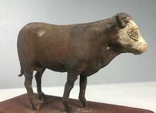 Vtg Paper Mache Folk Art Cow Old Paint Rope Tail Primitive Miniature Pull Toy