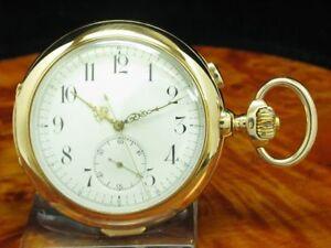 Invicta 14kt 585 Oro Savonette Orologio da Tasca Cronografo Minuti Ripetizione