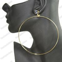 """CLIP ON 4""""big 10cm HOOPS thin metal GOLD FASHION EARRINGS large circle hoop clip"""