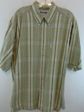 COLUMBIA Men Short Sleeve Button Down Shirt Sz Large Tan/Green