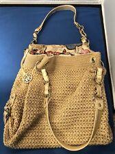 THE SAK Purse Bag Woven Tan/Beige Shoulder Bag Peace Multi Color Lining Nice