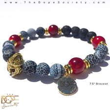 Men's Beaded Bracelet, Gold Spartan Helmet Bead Bracelet, Lava Bead Bracelet