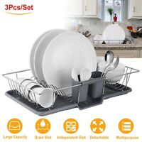Dish Drainer Drying Rack Set Kitchen  Countertop Storage Rack w/ Removable Rust