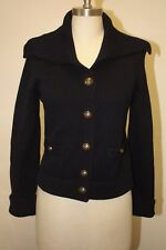 EUC J.CREW NAVY BLUE KNITTED CABLE OPEN CARDIGAN SWEATER - MEDIUM 4 6