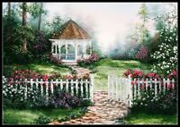 Gazebo Garden - Chart Counted Cross Stitch Pattern Needlework Xstitch craft DIY