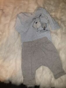 Boys 3-6 Months dog Top & Striped Trousers joggers Sport outfit bundle Next Day