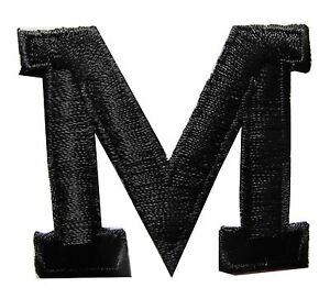 """1 3/4"""" Black Letter """"M"""" Embroidery Iron On Applique Patch"""
