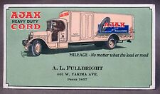 1920s AJAX CORD BALLOON TIRES Fullbright YAKIMA WASH. color illus. INK BLOTTER *