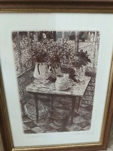 Fine art framed etching. Richard Fozard. Conservatory. 1980. Original.