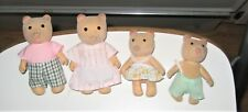 Vintage 4 Flocked Honey Bear Figures Maple Town Sylvanian Calico Critters