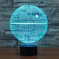 Death Star 3D illusion USB Prowerd Touch switch 7 Color LED Night Light Lamp