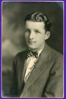 E01 Movie Star Features Slick Wavy Hair Teen Boy In Bow Tie & Suit Antique Photo