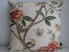 GP&J Baker Peony and Blossom Linen & Black Velvet Fabric Designer Cushion Cover