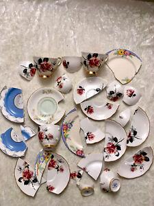 Job Lot Broken Vintage Tea Cups Saucers Crafts Jewellery Mosaic Pink Roses Blue