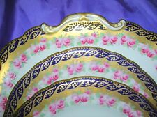 Aynsley Antique Cake Dessert 12 x Plates a 842 Pink Roses Hand Painted Wedding