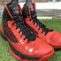 UK11 Mens NIKE AIR MONTY HYPERDUNK Trainers - Rare 2012 Red/Black Hi Tops - US12