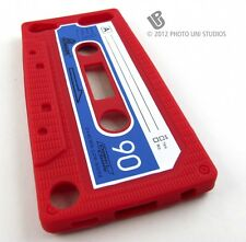 RED FUN CASSETTE TAPE SILICONE RUBBER SKIN CASE COVER APPLE IPOD TOUCH 5 5TH
