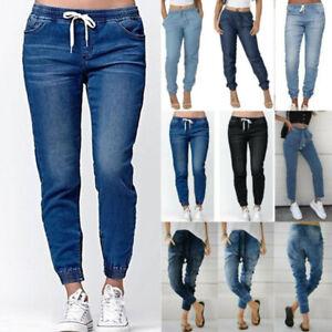 Women Denim Jogging Bottoms Elastic Waist Casual Baggy Joggers Pants Trousers