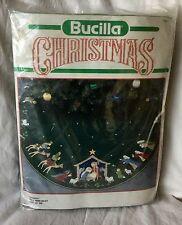 "Vintage Bucilla Felt Appliqué Tree Skirt Kit ""Nativity"" #82623 43"" Round"