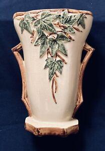 """McCoy Vase 1953 Art Pottery English Ivy 9.5"""" Tall 2 Handles Vintage"""