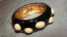 Vintage Chunky Hinged Bangle Bracelet by J Crew Black Enamel #J-16