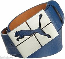 nwt~Puma Golf CARVE BELT Cracked Genuine Leather Cat Logo Buckle~Mens sz L/100cm