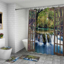 Waterfall Bathroom Waterproof Shower Curtain Non-slip Toilet Mat Cover Rug Set~~