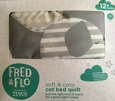 Brand New Fred & Flo Elephant Soft & Cosy Cot Bed Quilt