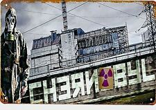 Chernobyl Tin Plaque Retro Nuclear Disaster Russia Ukraine TV Series Cold War US