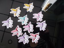 10 NEW UNICORN SHAPED WOODEN BUTTONS ASSORTED COLOURS SEWING CRAFTS