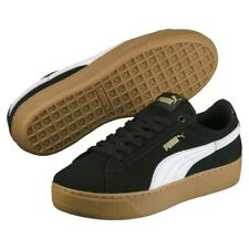 PUMA Vikky Platform Womens UK6 EU 39 Black & White Suede Sneakers Trainers Shoes