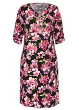 Gold chain lace up Neck 3/4 sleeve PINK floral stretch dress size 16 NEW