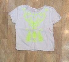 Girls H&M White Short Sleeve Thin Top Bright Neon Embroidered Cropped Age 14 Yr
