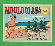 "VINTAGE ORIGINAL 1958 BEACH BEAUTY ""MOOLOOLABA"" GOLD COAST AUSTRALIA DECAL ART"