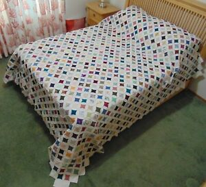 NEW! AMISH HANDMADE QUILT! ~ Cathedral Window ~ 102 x 107