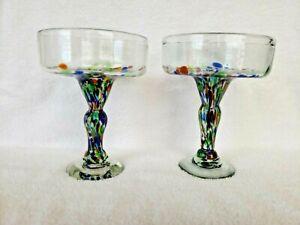 2 LG. MEXICAN CONFETTI COLOR PEBBLES HAND BLOWN MARGARITA MARTINI COCKTAIL GLASS