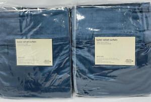 New~Set of 4~ West Elm Cotton Luster Velvet Curtains Drapes~Regal Blue~48x84