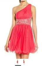 Junior's Asymmetry Short Prom Dress with Mesh Skirt, Watermelon,, pink 1