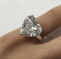 3Ct Heart Brilliant Cut Diamond Solitaire Engagement Ring 14K White Gold Finish