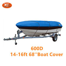Premium 600D 14-16ft 68''  Marine Grade Trailerable Fishing Boat Cover Blue