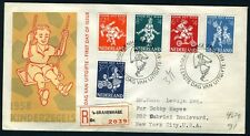 NETHERLANDS NVPH# E36 REGISTERED FDC 1958 TO NEW YORK 12/4/1958 CHILDREN