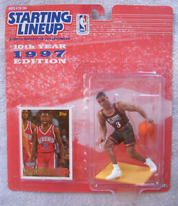 1997 NBA Starting Lineup Allen Iverson Philadelphia 76'ers Topps Rookie Card