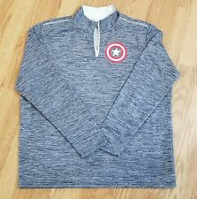 CAPTAIN AMERICA EXTRA LARGE XL HALF ZIP SWEATER MARVEL MAD ENGINE LICENCED