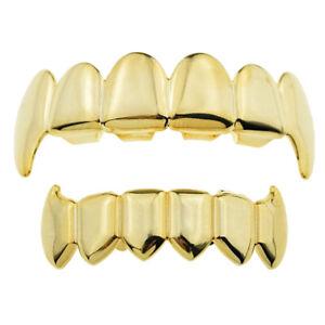 18k Gold Hip Hop Rock Teeth Grill Caps 6 Fang Teeth Top & Bottom Grills Set