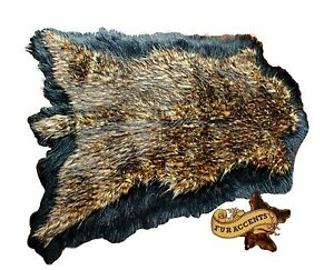 Original Black Bordered Double Deer Skin Area Rug Bear Sheepskin New