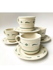 Longaberger Pottery Woven Traditions Ivory & Green Cup Mug and Saucer ~ Set of 4